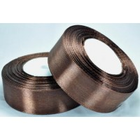 10А25-34 Лента атласная 2,5см 5шт темно-коричневый