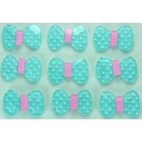 23-2 кабошон бантик 50шт размер 2х1,3см (голубые)