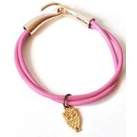 СБ1190-23 Браслет сова, розовый, длина 19см, застежка крючок