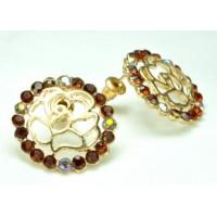 СГ1550-15 Серьги с коричневыми камнями