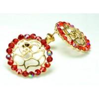 СГ1550-15 Серьги с красными камнями