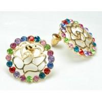 СГ1550-15 Серьги с разноцветными камнями