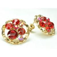 СГ1550-17 Серьги с красным камнем