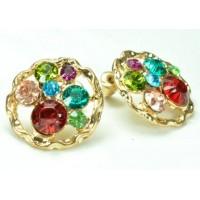 СГ1550-17 Серьги с разноцветными камнями