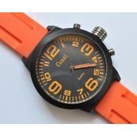 Часы  Арт 127-10-1 оранж диаметр 5см, силиконов. ремешок