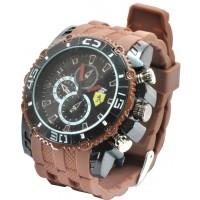 Часы Ferrari95-2 коричневый, диаметр корпуса 5см, ремешек силиконовый