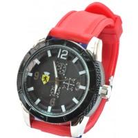 Часы Ferrari95-5 красные, диаметр корпуса 5см, ремешек силиконовый