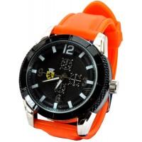 Часы Ferrari95-5 оранжевые, диаметр корпуса 5см, ремешек силиконовый