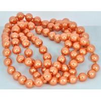 СП 2975-2 Бусы жемчуг крупный оранжевый, длина вдвое 74см Ф1см бусины