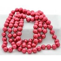 СП 2975-6 Бусы жемчуг крупный красный, длина вдвое 74см, Ф1см бусины