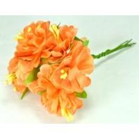 ЦВ160-1/6 Цветочек тканевые 6шт Ф6см оранжевые