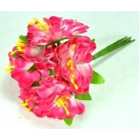 ЦВ160-2/6 Цветочек тканевые 6шт Ф6см розовые