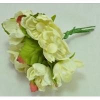 ЦВ160-3/6 Цветочки тканевые Ф4см 6шт бледно-лимонные