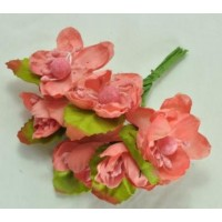 ЦВ160-3/6 Цветочки тканевые Ф4см 6шт корал