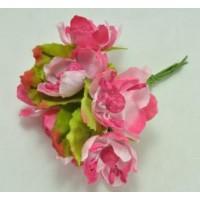 ЦВ160-3/6 Цветочки тканевые Ф4см 6шт розовые