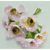 ЦВ160-4/6 Цветочки тканевые Ф5,5см 6шт нежно-розовые