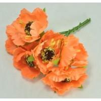 ЦВ160-4/6 Цветочки тканевые Ф5,5см 6шт оранжевые