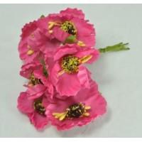 ЦВ160-4/6 Цветочки тканевые Ф5,5см 6шт ярко-розовые