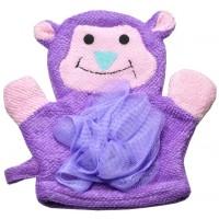 Мочалка Детская (перчатка игрушка бантик) обезьянка