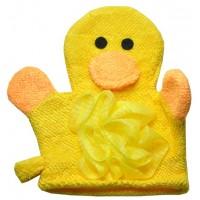 Мочалка Детская (перчатка игрушка бантик) уточка