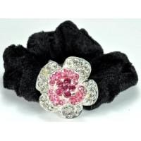 Р1990-12-4 Резинка велюровая с розовыми камнями