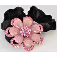Р2250-1-3 Резинка велюровая с розовыми камнями