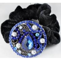 Р2250-2-1 Резинка велюровая с синими камнями