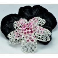 Р2260-3 Резинка велюровая с розовыми камнями