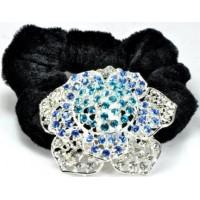 Р2260-4 Резинка велюровая с голубыми камнями