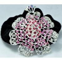Р2350-1 Резинка велюровая с розовыми камнями