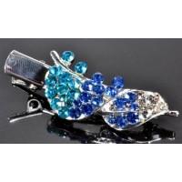 У1620-4 Утка длина 5см с голубыми камнями