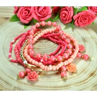СБ2960-4-2 Браслет многослойный розовый