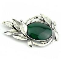 БР1150-5-1 Брошь с зеленым камнем 8,5х5см