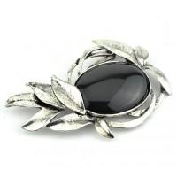БР1150-5-2 Брошь с черным камнем 8,5х5см