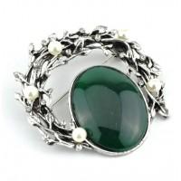 БР1150-6-1 Брошь с зеленым камнем 6х6см