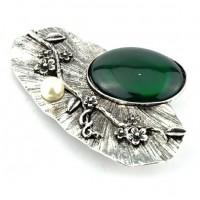 БР1150-8-2 Брошь с зеленым камнем 9х5,5см