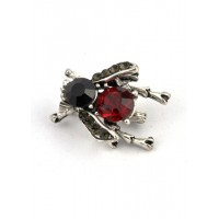 БР2700-1-1 Брошь цикада с красным камнем 2,5х2см