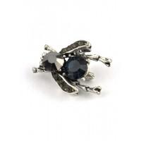 БР2700-1-2 Брошь цикада с синим камнем 2,5х2см