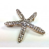 БР2950-11 Брошь звезда со стразами 5см металл под золото