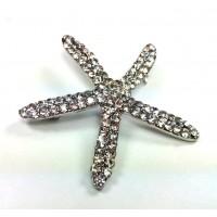 БР2950-12 Брошь звезда со стразами 5см металл под серебро