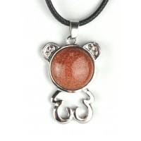 СП 5670-3 Подвески с натуральным камнем авантюрин коричневый