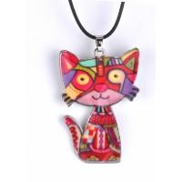 СП 6500-2 Подвеска кошка глазурированная керамика красная