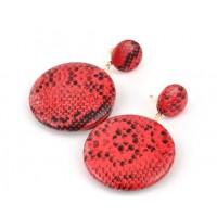 СГ3180-12 Серьги красные из экокожи, длина 5,5см