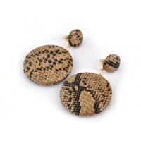 СГ3180-16 Серьги коричневые из экокожи, длина 5,5см