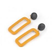 СГ3180-5 Серьги желтые из экокожи, длина 6,5см