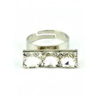 КО1150-1 Кольцо безразмерное с белыми камнями