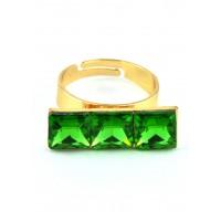 КО1150-3 Кольцо безразмерное с зелеными камнями