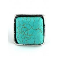 КО1460-11 кольцо с бирюзой безразмерное