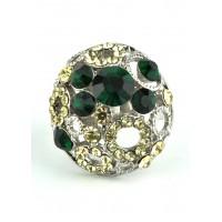 КО1460-25 кольца. Безразмерное с желтыми и изумрудными камнями Ф3см