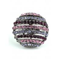 КО1566-2 Кольцо безразмерное с фиолетовыми камнями